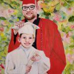 Grandson Joshua Graduation painting by Lori Thompson