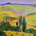 Italy Hillside Sunset painting