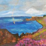 Acrylic Painting Monterey Rainbow at sunset